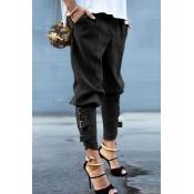 Lovely Casual Bandage Design Black Pants