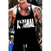Lovely Casual Letter Printed Black Vest