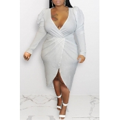 Lovely Casual V Neck Silver Mid Calf Plus Size Dre