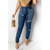 Lovely Casual Tassel Design Deep Blue Jeans
