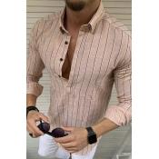 Lovely Casual Striped Khaki Shirt