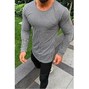 Lovely Casual Striped Grey T-shirt