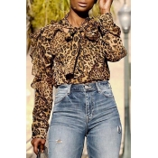 Lovely Trendy Leopard Printed Blouse
