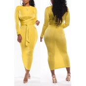 Lovely Casual Knot Design Yellow Ankle Length Dres