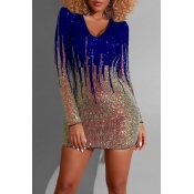Lovely Casual Sequined Patchwork Blue Mini Dress