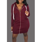Lovely Casual Hooded Collar Wine Red  Mini Dress