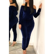 Lovely Leisure Basic Deep Blue Two-piece Pants Set