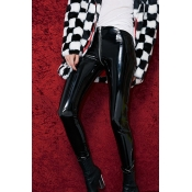Lovely Casual Zipper Design Black PU Pants
