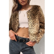 Lovely Casual Leopard Printed Short Coat