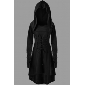 Lovely Casual Hooded Collar Bandage Design Black K