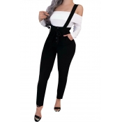 Lovely Casual Backless Black One-piece Jumpsuit