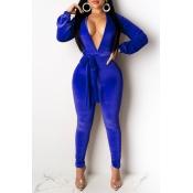 Lovely Sexy Deep V Neck Blue One-piece Jumpsuit