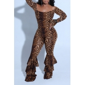 Lovely Chic Flounce Leopard Printed One-piece Jump