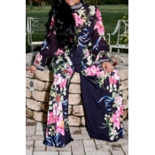 Lovely Casual Printed Dark Blue Two-piece Pants Se