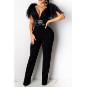 Lovely Sexy Deep V Neck Black One-piece Jumpsuit