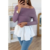 Lovely Trendy Patchwork Purple Blouse