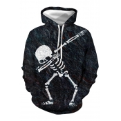 Lovely Casual Hooded Collar Skull Printed Black Ho