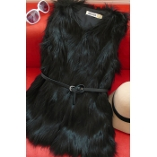 Lovely Casual Patchwork Black Vest(With Belt)