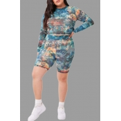 Lovely Casual Camouflage Printed Plus Size Two-pie