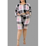 Lovely Casual Plaid Printed Pink Plus Size Two Two