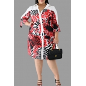 Lovely Casual Turndown Collar Printed Red Knee Len