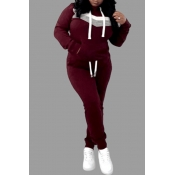 Lovely Casual Hooded Collar Patchwork Wine Red Plu