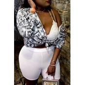 Lovely Leisure V Neck Printed White Blouse