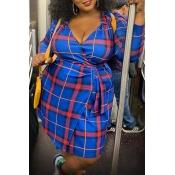 Lovely Casual V Neck Printed Blue Knee Length Plus