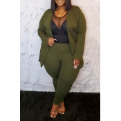 Lovely Casual Basic Army Green Plus Size Two-piece