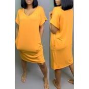 Lovely Leisure V Neck Yellow Knee Length Dress