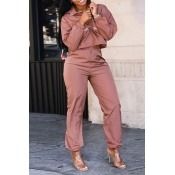 Lovely Casual Turndown Collar Dusty Pink Two-piece