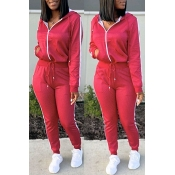 Lovely Casual Hooded Collar Red Two-piece Pants Se