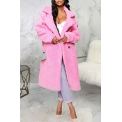Lovely Trendy Winter Turn-down Collar Pink Teddy C