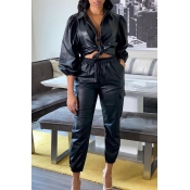 Lovely Trendy Turndown Collar Black Two-piece Pant