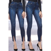 Lovely Leisure Slit Skinny Blue Jeans