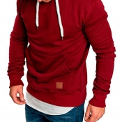 Lovely Casual Basic Wine Red Hoodie