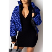 Lovely Winter Hooded Collar Printed Blue Coat