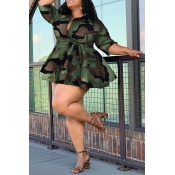 Lovely Casual Camouflage Printed Plus Size Mini Dress