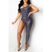Lovely Sexy One Shoulder Deep Blue One-piece Jumpsuit