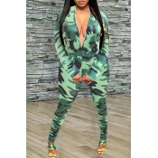 Lovely Trendy Camouflage Printed Army Green One-pi