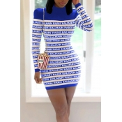 Lovely Casual Letter Printed Blue Mini Dress