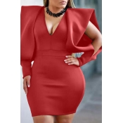 Lovely Temperament V Neck Red Mini Evening Dress