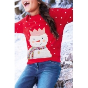 Lovely Christmas Day Printed Red Girls Sweatshirt