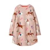 Lovely Sweet Printed Pink Knee Length Dress
