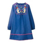 Lovely Sweet Tassel Design Blue Knee Length Dress