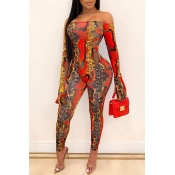 Lovely Trendy Printed Red Two-piece Pants Set