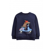 Lovely Casual Printed Navy Blue Boys Hoodie