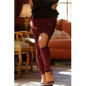 Lovely Casual Broken Holes Wine Red Pants