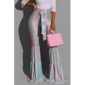 Lovely Trendy Striped Pink Pants