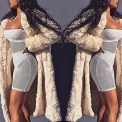 Lovely Casual Winter Long Beige Coat